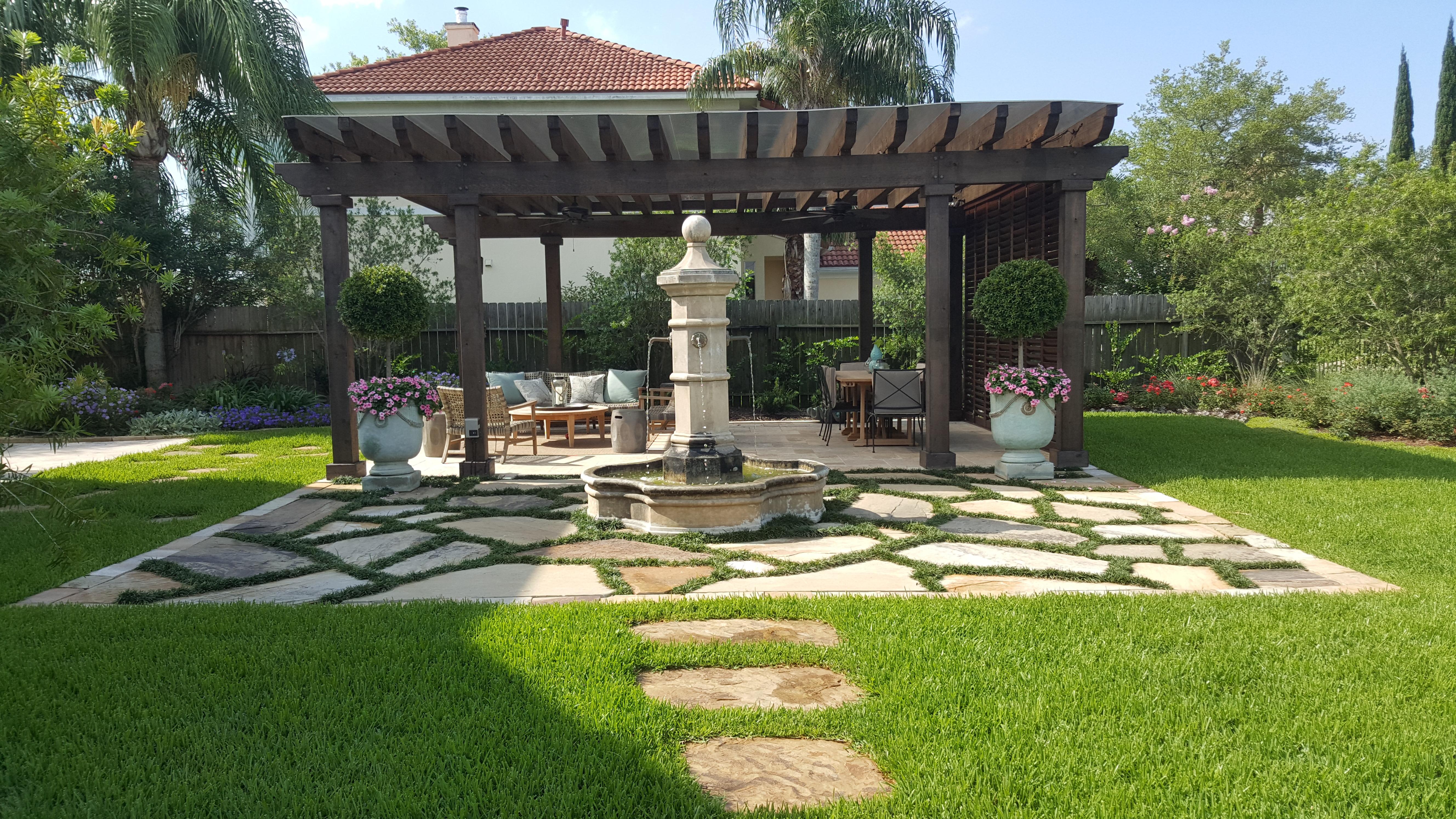 rustic pergola, arbor, fountains, urns