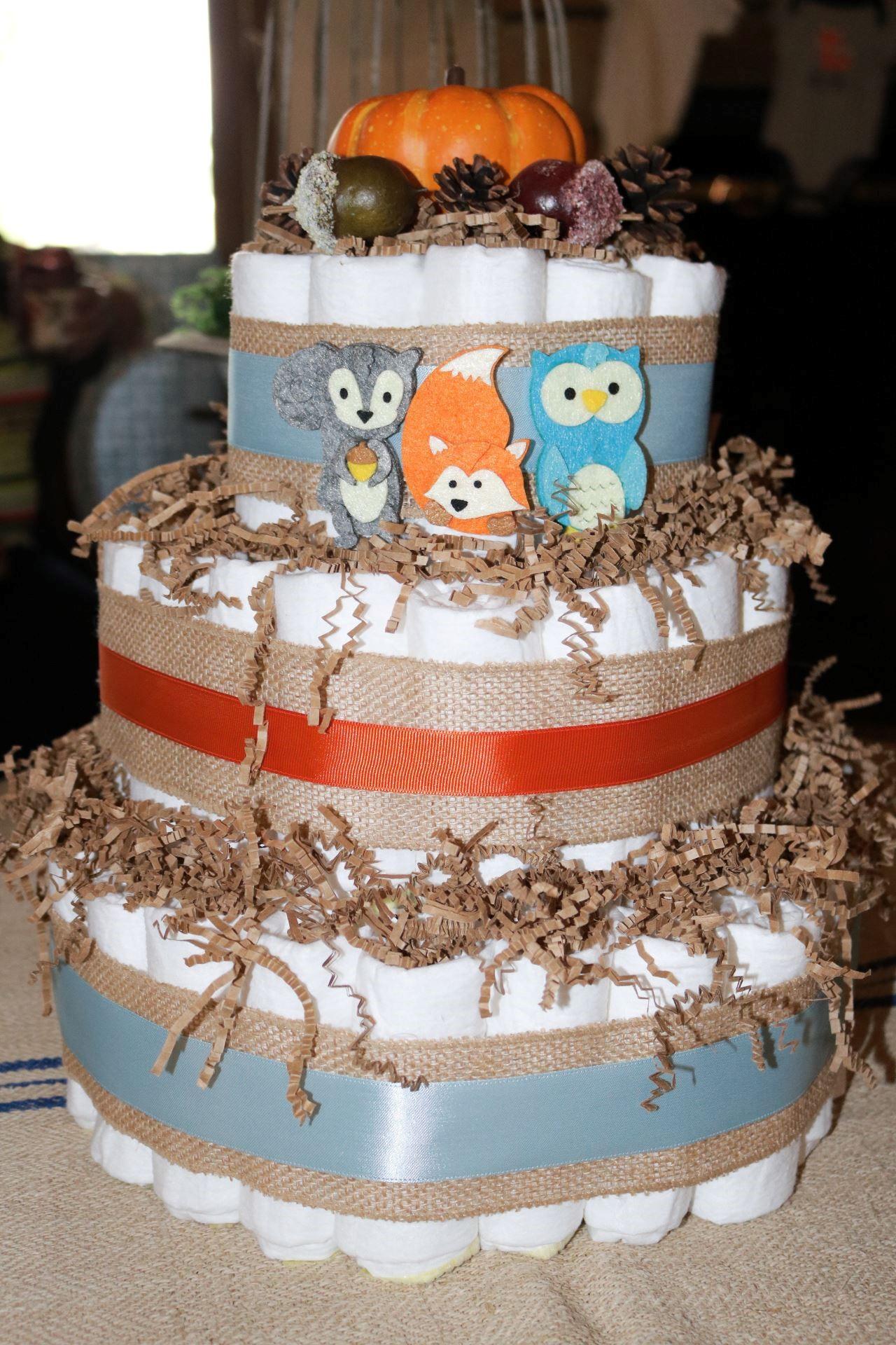 woodland baby theme diaper cake
